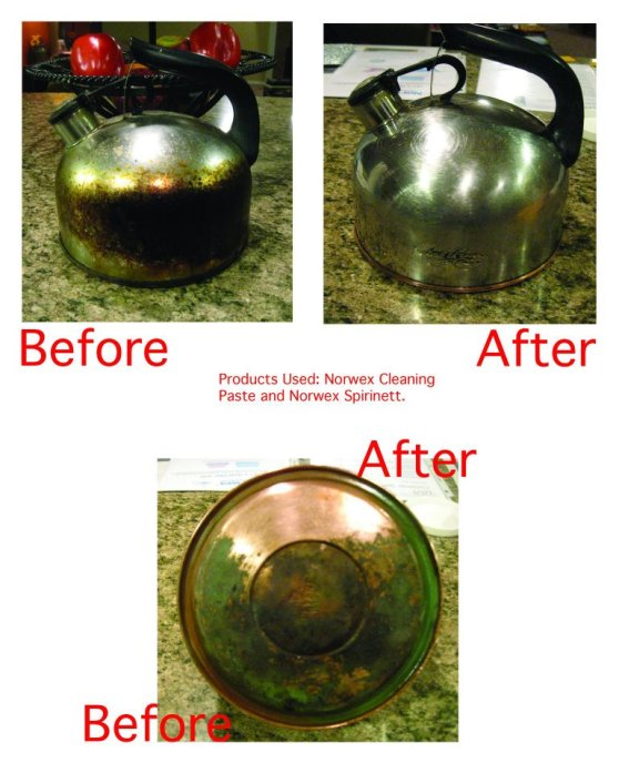 Picture Kettle cleaning paste before and after